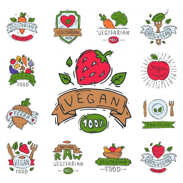 Mão-extraídas estilo de sinal de fazenda natural do vegetariano eco saudável comida orgânica rótulo vegetal vegetariano.
