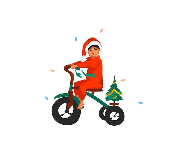 Mão-extraídas estoque divertido feliz natal e feliz ano novo cartão festivo dos desenhos animados