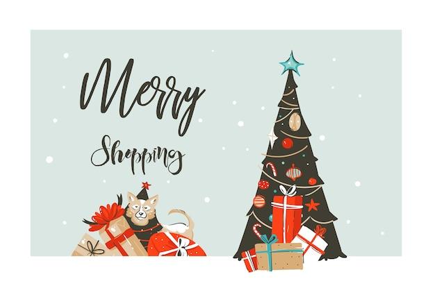 Mão-extraídas feliz natal tempo de compra dos desenhos animados simples saudação gráfica ilustração logo design com cachorro, muitas caixas de presente surpresa isoladas no fundo branco.