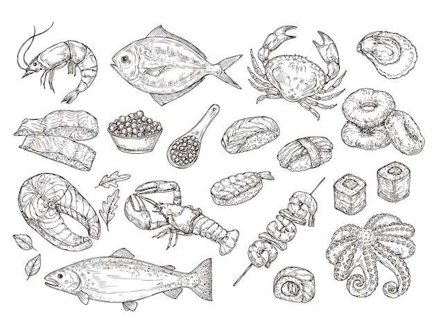 Mão-extraídas frutos do mar. lula de ostra natural, caviar. ingredientes de refeição japonesa