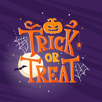 Mão-extraídas fundo de doces ou travessuras de halloween. pôster de halloween de terror com letras de mão e elementos de decoração. convite para festa, cartão ou banner com caligrafia desenhada à mão