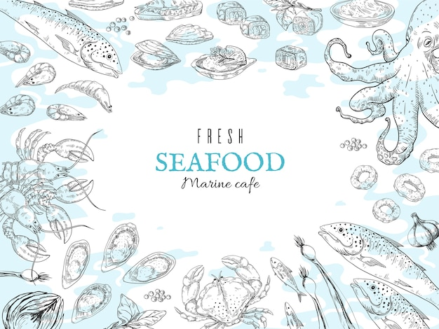Mão-extraídas fundo de frutos do mar. ilustração do esboço de comida fresca do oceano