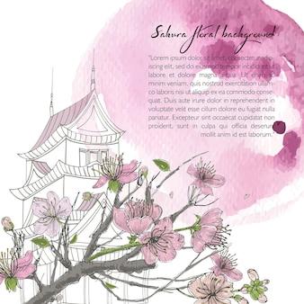 Mão-extraídas fundo de primavera com florescendo sakura, casa japonesa e mancha de aquarela. modelo de design com lugar para texto.