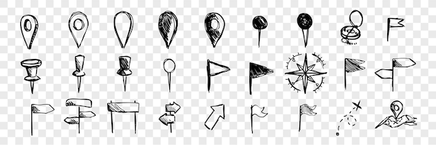 Mão-extraídas ícones de navegação logística, coleção de conjunto de doodle. marcas desenhadas à mão, ponteiros, bússolas, bandeiras. esboços de diferentes símbolos de direção. mapa e navegação rodoviária