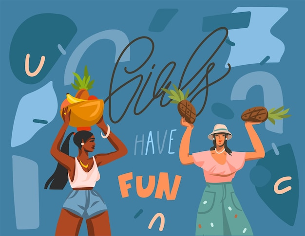 Mão-extraídas ilustração com jovens sorrindo positivas diversas mulheres