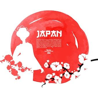 Mão-extraídas ilustração de cereja japonesa. esboço e fundo do modelo em aquarela