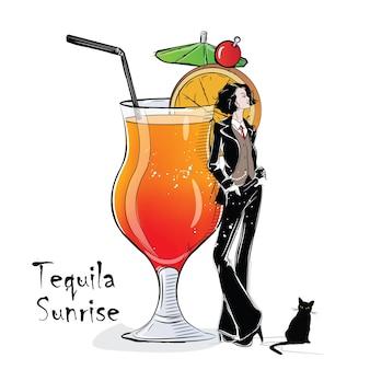Mão-extraídas ilustração de coquetel com a garota. tequila sunrise. ilustração vetorial