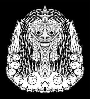 Mão-extraídas ilustração de rangda bali. vetor premium