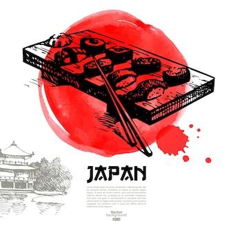 Mão-extraídas ilustração de sushi japonês. esboço e plano de fundo do menu em aquarela