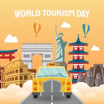 Mão-extraídas ilustração do conceito do dia mundial do turismo.