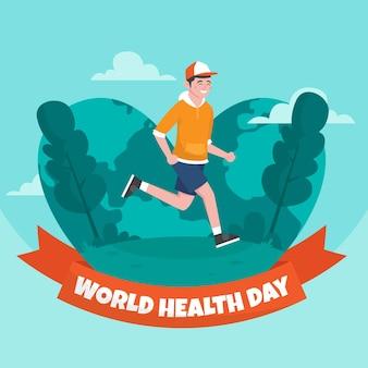 Mão-extraídas ilustração do dia mundial da saúde com homem correndo