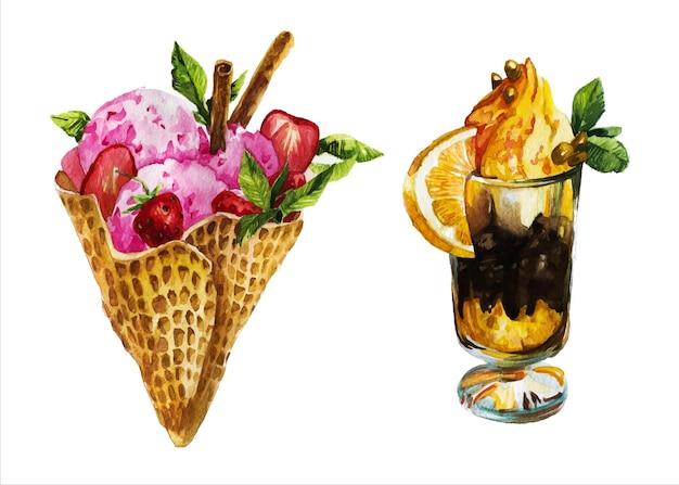 Mão-extraídas ilustração em aquarela de sobremesas.