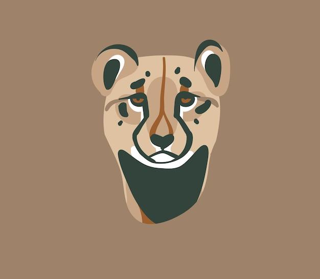Mão-extraídas ilustração gráfica abstrata de estoque plano com elementos de design de marca de logotipo de animal dos desenhos animados de cabeça de chita selvagem africana isolados em fundo pastel.