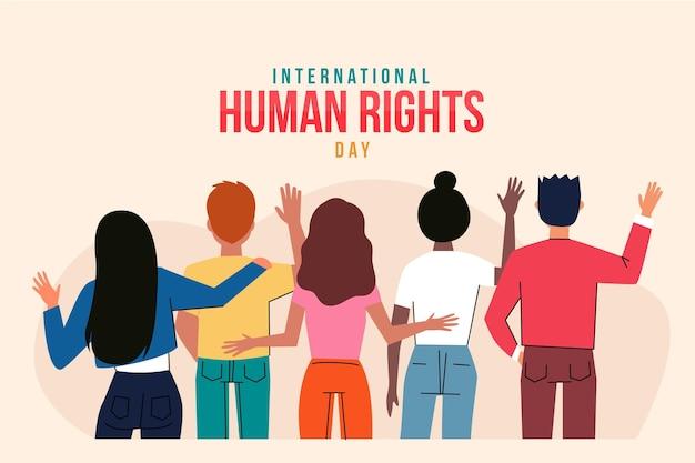 Mão-extraídas ilustração internacional do dia dos direitos humanos