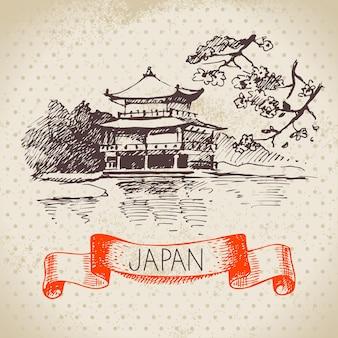 Mão-extraídas ilustração japonesa. sketch background