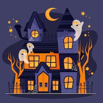 Mão-extraídas ilustração plana da casa do dia das bruxas