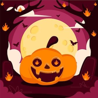 Mão-extraídas ilustração plana de abóbora de halloween