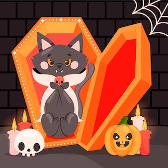 Mão-extraídas ilustração plana de gato de halloween