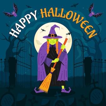 Mão-extraídas ilustração plana de halloween