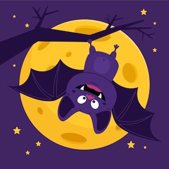 Mão-extraídas ilustração plana de morcego de halloween