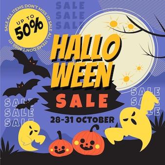 Mão-extraídas ilustração plana de venda de halloween