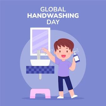 Mão-extraídas ilustração plana global do dia da lavagem das mãos