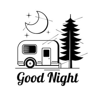 Mão-extraídas ilustração vetorial - boa noite, cartão com lua e nuvens