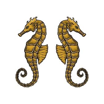 Mão-extraídas ilustração vetorial de cavalo-marinho