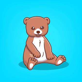 Mão-extraídas ilustração vetorial de desenho animado ícone de urso fofo