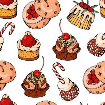 Mão-extraídas ilustração vetorial de padrão de fundo sem costura com sobremesas de natal