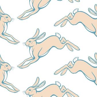 Mão-extraídas ilustração vetorial de padrão samless de lebres saltadoras isoladas no fundo branco