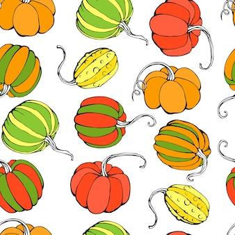 Mão-extraídas ilustração vetorial de padrão sem emenda com abóboras isoladas no fundo branco
