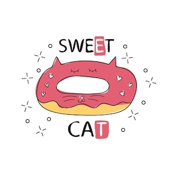 Mão-extraídas ilustração vetorial de um donut engraçado kawaii com orelhas de gato. objetos isolados em fundo branco. desenho de linha. conceito de design para menu de café para gatos, crianças imprimir