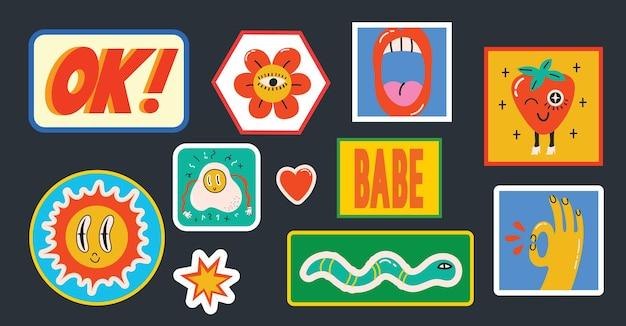 Mão-extraídas ilustrações vetoriais de um conjunto de vários patches pinos, selos ou adesivos com fun ...