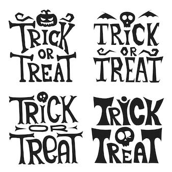 Mão-extraídas letras de doces ou travessuras de halloween. citar. pôster de halloween de terror com letras de mão e elementos de decoração. convites de festa com caligrafia desenhada à mão