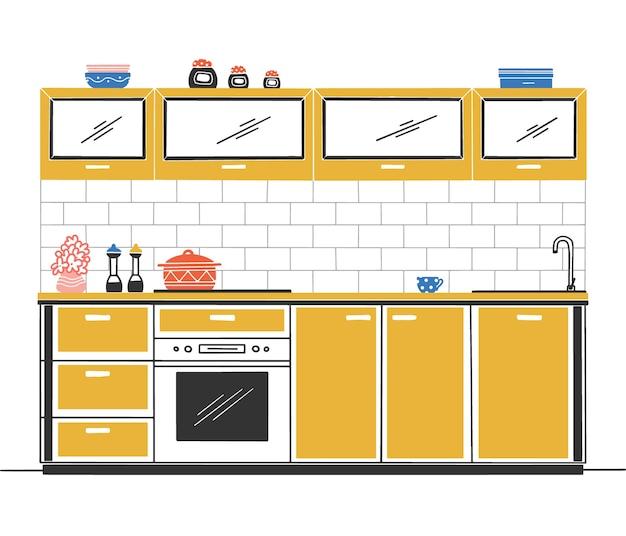 Mão-extraídas móveis de cozinha. ilustração em estilo de desenho