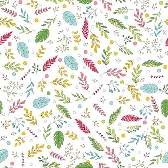 Mão-extraídas padrão sem emenda de vetor com elementos florais em um fundo branco. padrão de vetor com folhas, galhos, galhos, frutas, grama.