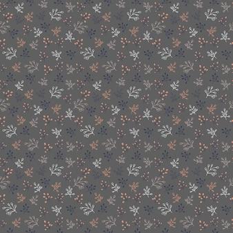 Mão-extraídas padrão sem emenda de vetor com elementos florais em um fundo escuro. padrão de vetor com folhas, galhos, galhos, frutas, grama. ilustração vetorial