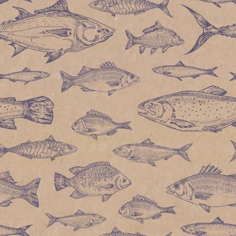 Mão-extraídas peixes vetor padrão sem emenda. textura de papel cartão artesanal. anchova, herrings