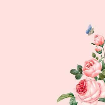 Mão-extraídas quadro de rosas cor de rosa no vetor de fundo rosa pastel