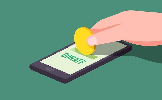 Mão fazendo ilustração de doação on-line
