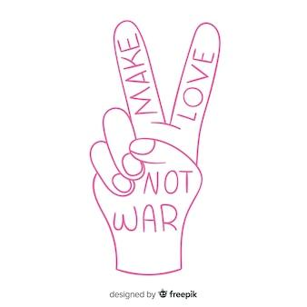 Mão fazendo o sinal da paz com estilo mão desenhada