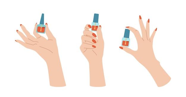 Mão feminina bem cuidada com conjunto de verniz, design de unhas de mãos na moda, escova e frasco. acessórios de manicure plana, ferramentas de equipamento. conceito moderno de beleza de spa