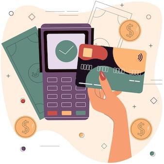 Mão feminina com cartão de débito ou crédito em frente ao terminal eletrônico compras on-line de comércio eletrônico