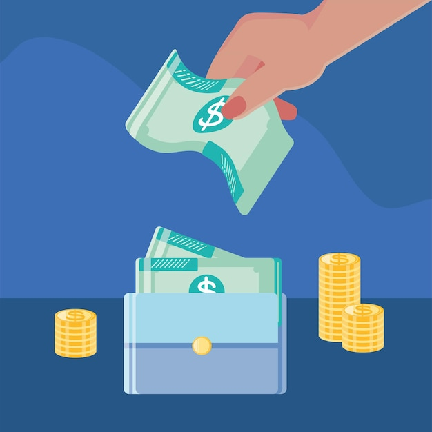 Mão feminina com dinheiro