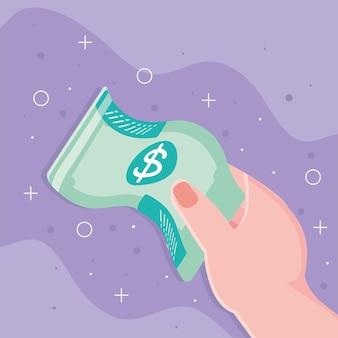 Mão feminina com dólar