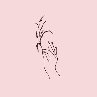 Mão feminina com logotipo de erva floral. mão desenhada estilo boho esotérico. ilustração vetorial