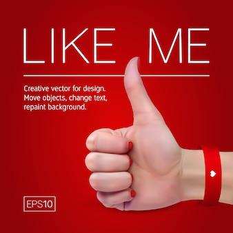 Mão feminina com manicure em um fundo vermelho mostra o polegar para cima o sinal