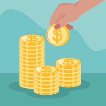 Mão feminina com moedas