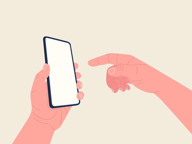 Mão feminina com unhas segurando o smartphone. .